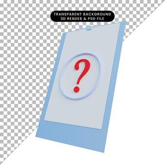물음표와 함께 보드에 종이의 3d 일러스트
