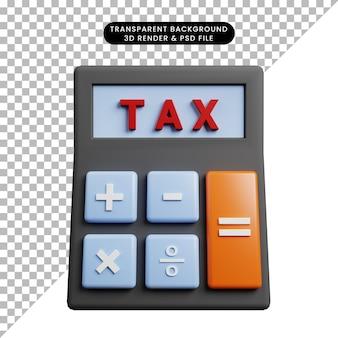 3d иллюстрации калькулятора концепции оплаты налога