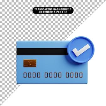 3-я иллюстрация кредитной карты концепции оплаты и значка контрольного списка