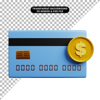 3-я иллюстрация бумаги значка концепции оплаты с кредитной картой и монетой