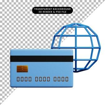 3-я иллюстрация бумаги значка концепции оплаты с кредитной картой и глобусом