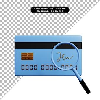 3-я иллюстрация бумажного значка концепции оплаты с кредитной картой с подписью и увеличительным стеклом