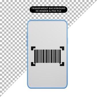 3d иллюстрации смартфона концепции оплаты со штрих-кодом