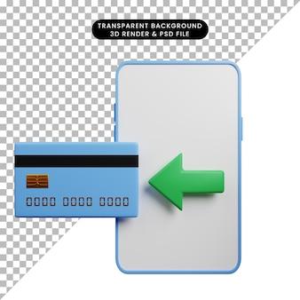 Смартфон концепции оплаты с кредитной картой 3d иллюстрации