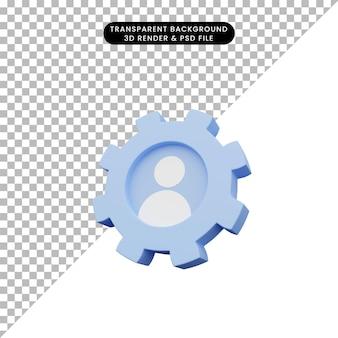 3d иллюстрации значка людей внутри шестеренки