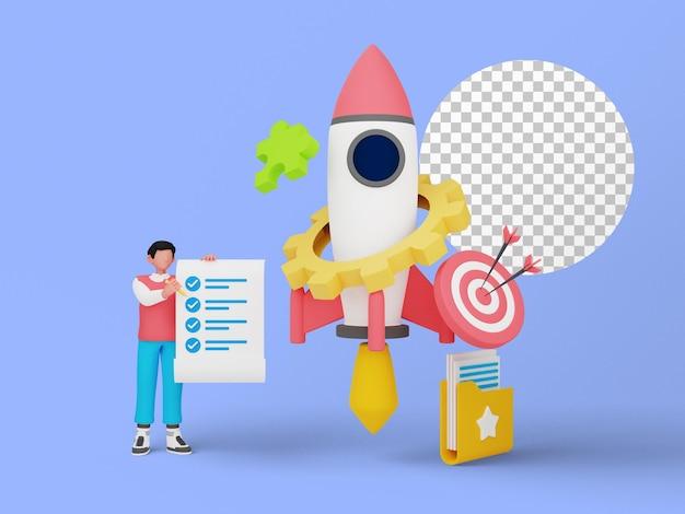 ランディングページのビジネスプロジェクトを開始する人々の3dイラスト