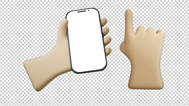 3d иллюстрации телефона в мультяшном стиле рука изолированные