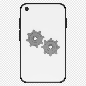 전화 설정 아이콘 psd의 3d 그림