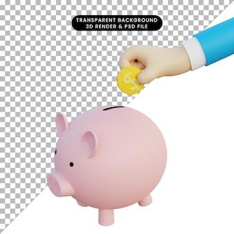 돼지 저금통과 동전을 들고 3d 손의 3d 그림