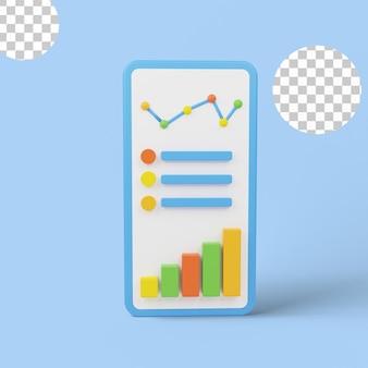 판매 성장 차트를 제시하고 분석하는 3d 그림.