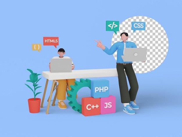 프로그램 언어 개념의 3d 일러스트