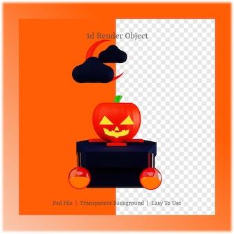 할로윈 데이 컨셉의 호박과 관의 3d 그림