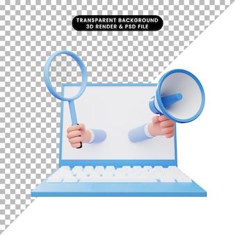 ノートパソコンを使用したオンライン求人の3dイラスト