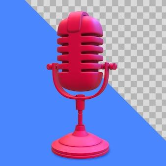 3d иллюстрации красный микрофон обтравочного контура