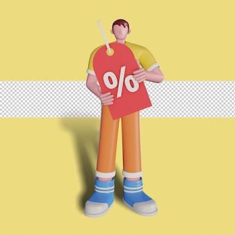 3d иллюстрации скидки для продвижения продаж