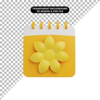 3d иллюстрации сезонного календаря весна