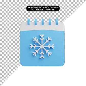 3d иллюстрации календаря сезона зима