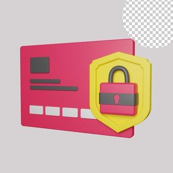 3d иллюстрации безопасной оплаты картой