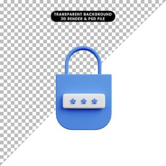 보안 개념 자물쇠 및 암호의 3d 그림