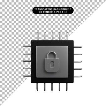보안 개념 프로세서 및 자물쇠의 3d 그림