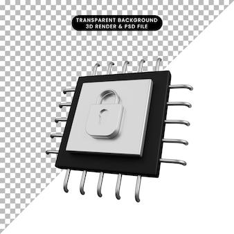 자물쇠가 있는 보안 개념 프로세서의 3d 그림
