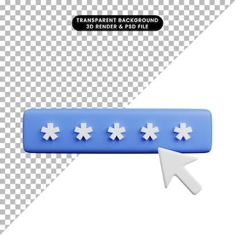 3d иллюстрации концепции безопасности безопасный пароль и курсор