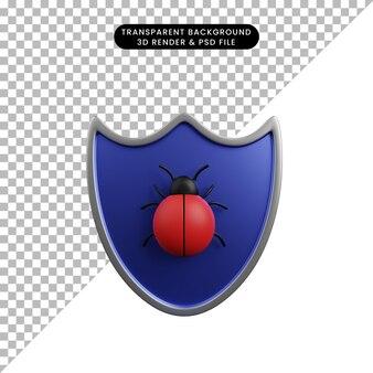버그와 보안 개념 방패의 3d 그림