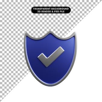 체크리스트 아이콘이 있는 보안 개념 방패의 3d 그림