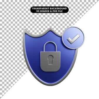 자물쇠 체크리스트 아이콘이 있는 보안 개념 방패의 3d 그림