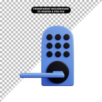 보안 개념 스마트 도어 잠금 코드의 3d 그림