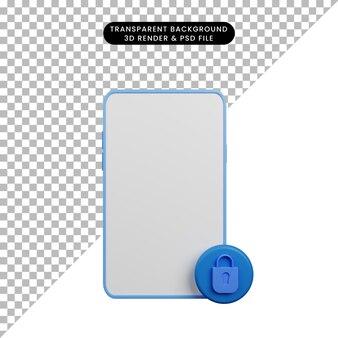 자물쇠와 빈 보안 개념 스마트폰의 3d 그림