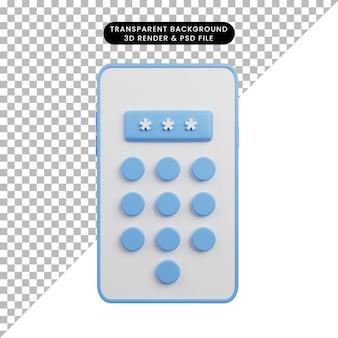 보안 개념 스마트폰 코드의 3d 일러스트