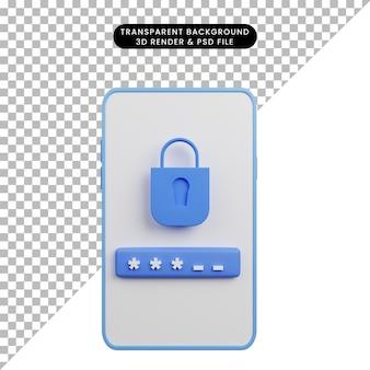 자물쇠 로그인이 있는 보안 개념 스마트폰의 3d 그림