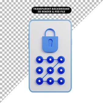 자물쇠 보안 패턴이 있는 보안 개념 스마트폰의 3d 그림