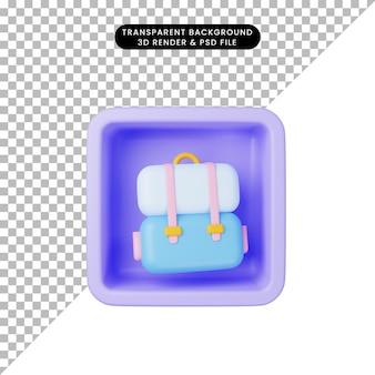 キューブ上のシンプルなアイコンバッグの3dイラスト