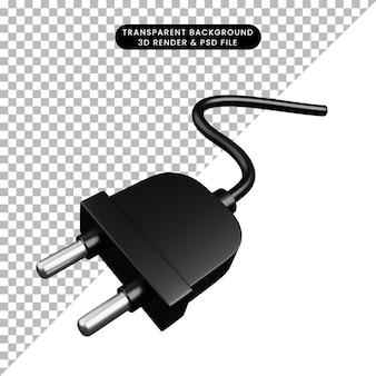 간단한 아이콘 케이블 플러그의 3d 일러스트