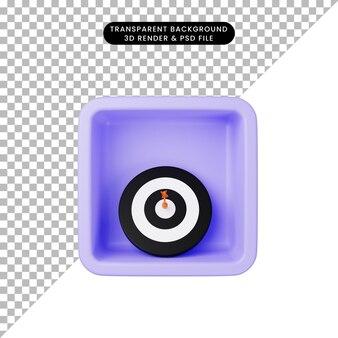 3d иллюстрации простой значок дротика на кубе