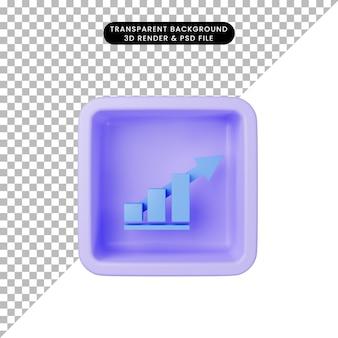 キューブ上のシンプルなアイコングラフィックの3dイラスト