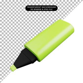 간단한 아이콘 형광펜의 3d 일러스트