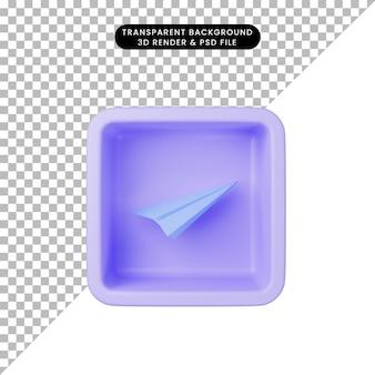 큐브에 간단한 아이콘 종이 비행기의 3d 그림