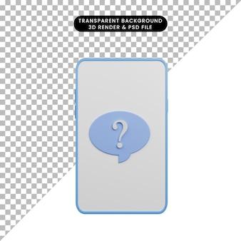 채팅 거품과 물음표가 있는 간단한 아이콘 스마트폰의 3d 그림