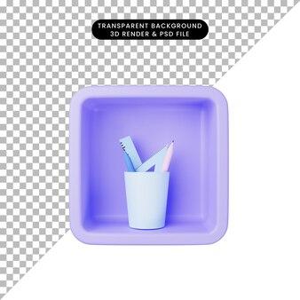 キューブに静止しているシンプルなアイコンの3dイラスト