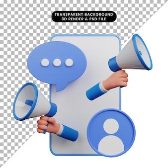 확성기 모집을 들고 3d 손으로 스마트 폰의 간단한 그림의 3d 그림