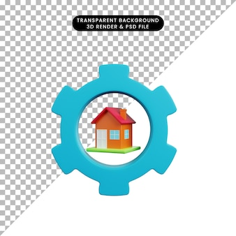 3d иллюстрации простой объект дома с шестерней