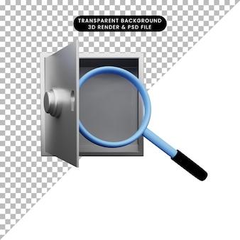 안전한 은행에 총을 확대하는 간단한 개체의 3d 그림