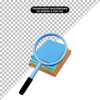 책의 스택에 총을 확대하는 간단한 개체의 3d 그림