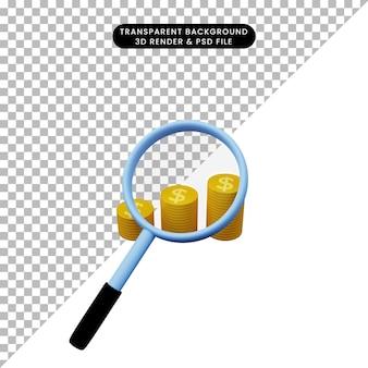 황금 동전의 스택에 총을 확대하는 간단한 개체의 3d 그림
