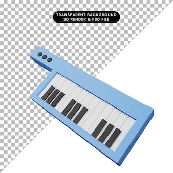 シンプルなオブジェクト音楽インストルメンタルギターピアノの3dイラスト