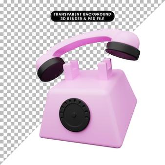 3d иллюстрации простой объект музыкальный инструмент старый телефон