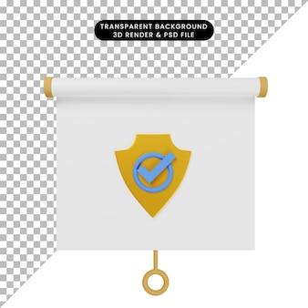 배지가 있는 간단한 개체 프레젠테이션 보드 전면 보기의 3d 그림